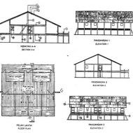 Pelan rumah panjang iban Asian Architecture, Traditional House Plans, History Projects, My House Plans, Wooden House, Paper Models, Anime Scenery, Peta, Conservation