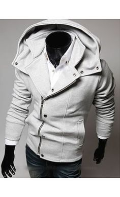 Mens high collar modern hoodie