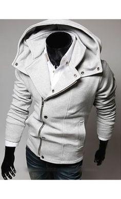 Mens high collar modern hoodie
