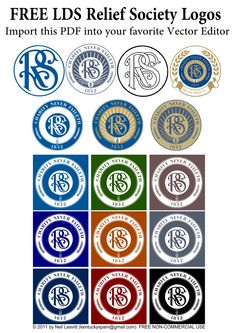 "Page of Various Relief Society Logos-Seals.jpg 4,961×7,016 pixels  Get Relief Society Ideas at - www.MormonLink.com  ""I cannot believe how many LDS resources I found... It's about time someone thought of this!""   - MormonLink.com"