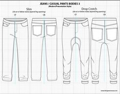 Mens Illustrator Flat Fashion Sketch Templates - Presentation Sketches Jeans… More