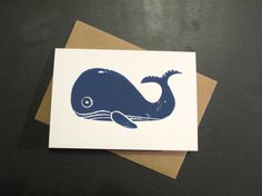 Whale Greeting Card Hand Printed Lino Cut on by cardsandcotton