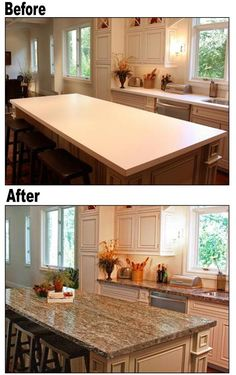 1 - How to Paint Laminate Kitchen Countertops - DIY Faux Granite - Crafts Diy Home Kitchen Countertops Laminate, Kitchen Decor, Home, Home Diy, Diy Kitchen Countertops, Kitchen Design, Diy Kitchen, Diy Countertops, Home Decor