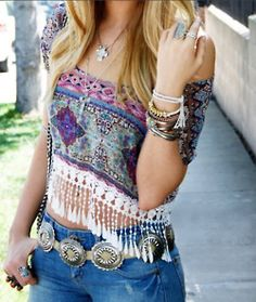 Gypsy style fringe top for a modern hippie boho look. FOLLOW http://www.pinterest.com/happygolicky/the-best-boho-chic-fashion-bohemian-jewelry-gypsy-/ for the BEST Bohemian fashion trends in clothing & jewelry.
