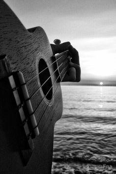 guitar and ukulele on the beach. My life is beautiful. Music Love, Music Is Life, My Music, Music Guitar, Playing Guitar, Violin Art, Guitar Strumming, Music Heart, Dream Music