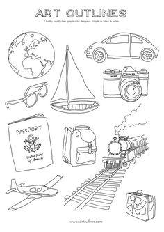 Set of Travel Illustrations -  10 Original Hand Vector Graphics | etsy