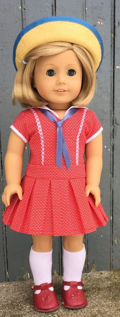 Red sailor dress by GumbieCatDollClothes on Etsy. Made using the Cosplay Day Dress pattern. Find it at https://www.pixiefaire.com/products/cosplay-day-dress-18-doll-clothes. #pixiefaire #cosplaydaydress