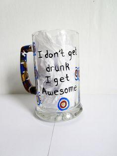 0dcc84de619a Hand painted beer mug ... i don t get drunk i get awesome blue gold  camouflage