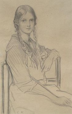 """""""Portrait of a Seated Girl"""", by Dame Laura Knight (1877-1970):"""