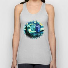 Starry Night Police Box by Bohemian Bear Unisex Tank Top by Bohemian Bear by Kristi Duggins - $18.00