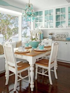 Dining Room Decor Ideas Nautical Home Coastal Living Style Wooden Bo