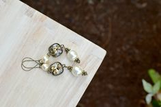 Long Pearl and Crystal Dangle Earrings Vintage by raelwear on Etsy