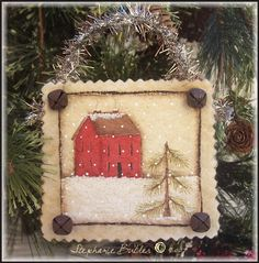 Like this primitive style ornament with antiqued bells paint it on watercolor paper? Sunshine and Ravioli