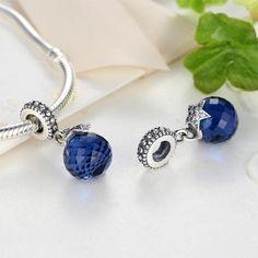 Pandora, Blue Crystals, Stars And Moon, Charmed, Pendant, Bracelets, Jewelry, Amor, Jewlery