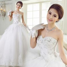 Attractive Ball Gown Sweetheart Floor Length Lace & Flowers Wedding Dress ,$235.89 Now.