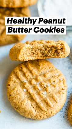 Healthy Sweets, Healthy Baking, Healthy Desserts, Delicious Desserts, Gluten Free Recipes, Vegan Recipes, Cookie Recipes, Dessert Recipes, Healthy Peanut Butter Cookies