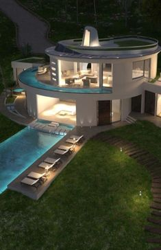 round building architecture at DuckDuckGo Round Building, Building A Pool, Home Building Design, House Design, Round House Plans, Circle House, Dome House, Unusual Homes, Pool Designs