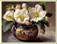 Ann Cotterill   OIL                      Christmas Roses in a Japanese Pot