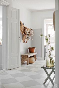 Hallway – Home Decor Designs Entry Stairs, Entry Hallway, Small Entrance Halls, Hall Flooring, Small Hall, Scandinavian Interior Design, Painted Floors, Modern Kitchen Design, Home Decor Styles