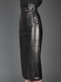 High Waisted Leather Pencil Skirt