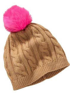 Hot pink pom pom and camel winter hat - so cute!