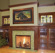 Stunning Craftsman Living Room Decor Ideas 31 craftsman style homes interior 44 Stunning Craftsman Living Room Decor Ideas Wood Mantle Fireplace, Craftsman Fireplace, Living Room With Fireplace, Fireplace Surrounds, My Living Room, Living Room Decor, Fireplace Ideas, Basement Fireplace, Fireplace Modern