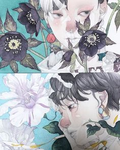 I love the texture of the watercolor in this and the use of leaving some space blank for highlights Manga Art, Manga Anime, Anime Art, Character Art, Character Design, Pretty Art, Aesthetic Art, Art Sketchbook, Japanese Art