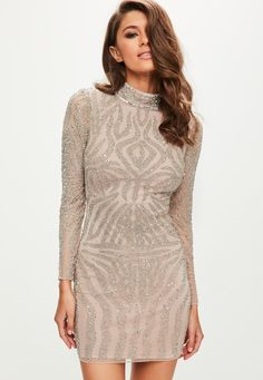 Missguided - Peace   Love Nude High Neck Bodycon Dress| #Missguided #Dress #Sponsored