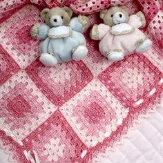 manta square quadrado para o bebê em croche com receita