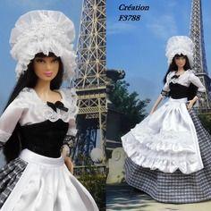 """Robe barbie """" n°12 île-de-france """" tenue pour poupée barbie…"""
