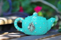 Polymer Clay Teapot Light Turquoise Victorian,  I must have it for the apartment!!;)
