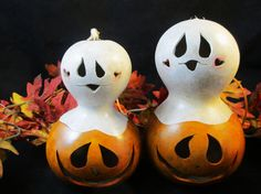 Halloween Gourds Pumpkin Candy Dish  and Ghost by KaoriKreations, see link for more info and pricing.