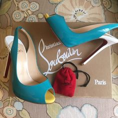 Christian Louboutin Flo Sling 120 Patent heels AUTHENTIC. The most beautiful peep toe heels. Color 3113 Caraibes/Canari. The right shoe is a 36 and the left shoe is a 36 1/2. Comes with original box and two sets of heel caps, no dust bag. NO TRADES. Serious buyers only. NWT. Christian Louboutin Shoes Heels