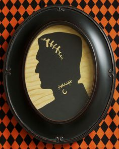 Primitive Frankenstein Framed Halloween Silhouette by RedHedPrims,