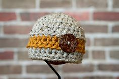 Stripe button knit hat for baby by maddie lou