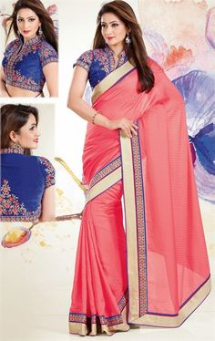 Picture of Scintillating Salmon Color Party Wear Saree