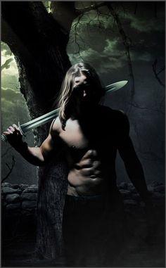 Moody art of long-haired guy w/sword by Tony Mauro - ooh...