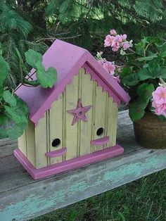 Shabby Cottage Chic Birdhouse ~ Butter Yellow and Raspberry Pink Sweet French Country