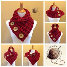 The cowtown cowl versatile scarf neck warmer 3 large coconut buttons earth tones very warm and soft Crochet Motifs, Crochet Buttons, Crochet Shawl, Knit Crochet, Loom Knitting, Knitting Patterns Free, Crochet Patterns, Crochet Newsboy Hat, Knitted Hats