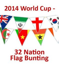 Football World Cup Flag Bunting - 32 Individual Nations Represented in 2014 World Cup - 11.5m / 38 Ft Long - Triangular Flags - GREAT VALUE - Ideal bunting for pubs, clubs, home, kids rooms @ http://www.world-cup-products-worldwide.com/football-world-cup-flag-bunting-32-individual-nations-represented-in-2014-world-cup/