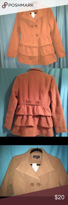 Brand New Peacoat Beautiful tan peacoat with ruffles and gold liner. This coat is so pretty!! Rue 21 Jackets & Coats Pea Coats