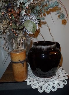 1960 Vintage Red Clay Bean Pot with Drip Pattern by Andie83, $15.00