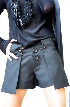 Купить Шорты Trendy - черный, шорты, короткие шорты, шерстяные шорты, теплые шорты