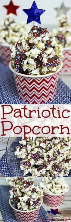 3 Ingredient Dark Chocolate Patriotic Popcorn recipe.  A fun red, white and blue food idea for 4th of July.  The perfect semi healthy holiday treat.  Easy DIY make ahead for kids or for a crowd.  Simple, inexpensive, creative and cute for movie night or an edible gift! / Running in a Skirt