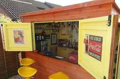 This Is How To Make Your Shed Into Your Own Private Bar (Would make a cute coffee shop too!)