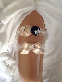 wedding garter set champagne/navy blue bridal garter by venusshop, $28.90