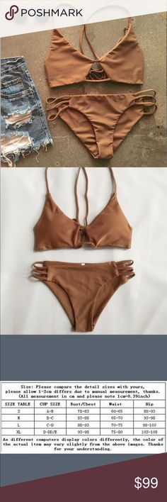 Brand New Nude Brown Basic Strappy Bikini Brand New never worn Basic Brown Strappy Bikini. Straps are adjustable for the back too, so it can definitely fit a medium also if you are C-D. Super cute and always in style! TAGGED BRAND ONLY FOR EXPOSURE!!!! acacia swimwear Swim Bikinis