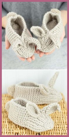 – Stricken ist so einfach wie 3 Stricken … – – Family Bunny Slippers – Kostenloses Muster, Adorable Brosche Free Crochet Pattern – – Bunny Ear Pillow Free Pattern # Bunny Ear Pillow Free mini konijntjes en … Baby Knitting Patterns, Crochet Patterns, Bunny Slippers, Knitted Slippers, Elf Slippers, Knitting Socks, Free Knitting, Knitting Needles, Knitting Projects