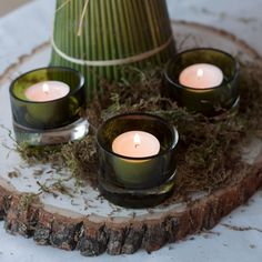 Our vella and tea-light set is perfect for a Tea Light Candles, Tea Lights, Centre Pieces, Be Perfect, Rustic, Table Decorations, Instagram, Home Decor, Country Primitive