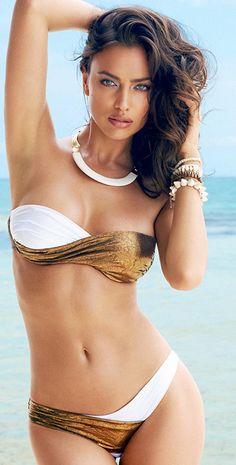 Beach Bunyy 2014 Gold & White Bandeau Bikini